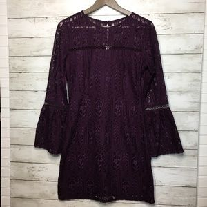 Lacey Floral Purple Long sleeve Dress size Small